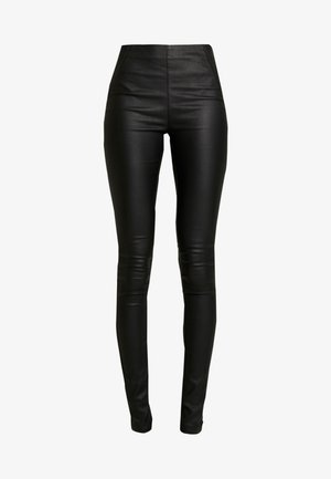 OBJBELLE COATED - Trousers - black