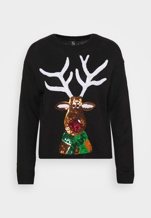 XMAS SEQUIN REINDEER - Jumper - black