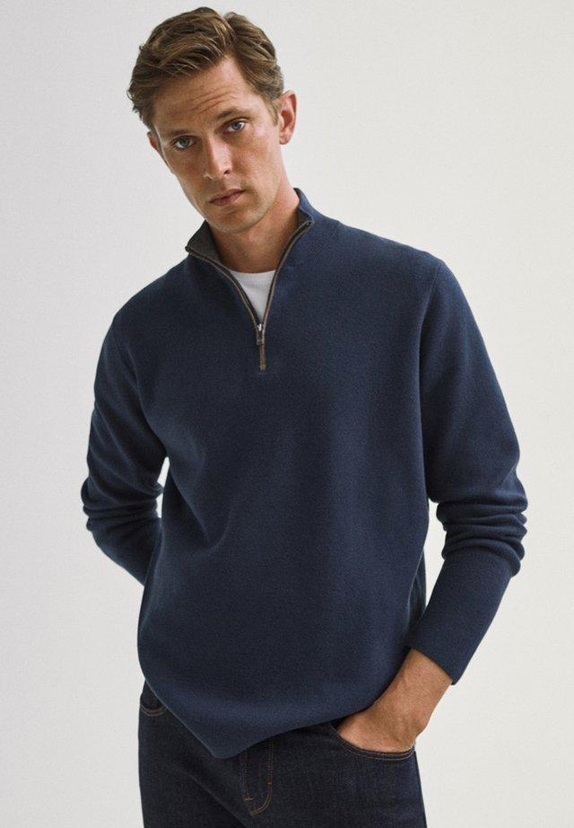 COTTON/SILK MOCK - Sweatshirt - dark purple
