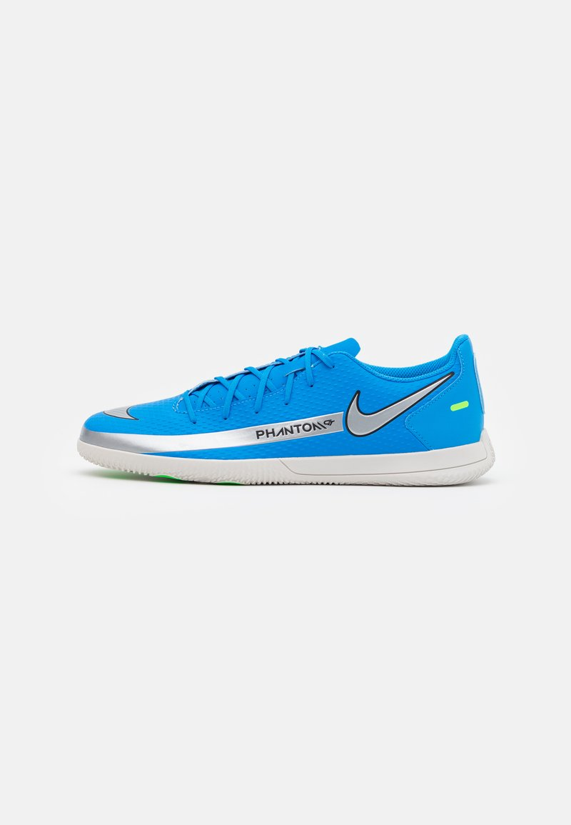 Nike Performance - PHANTOM GT CLUB IC - Zaalvoetbalschoenen - photo blue/metallic silver/rage green