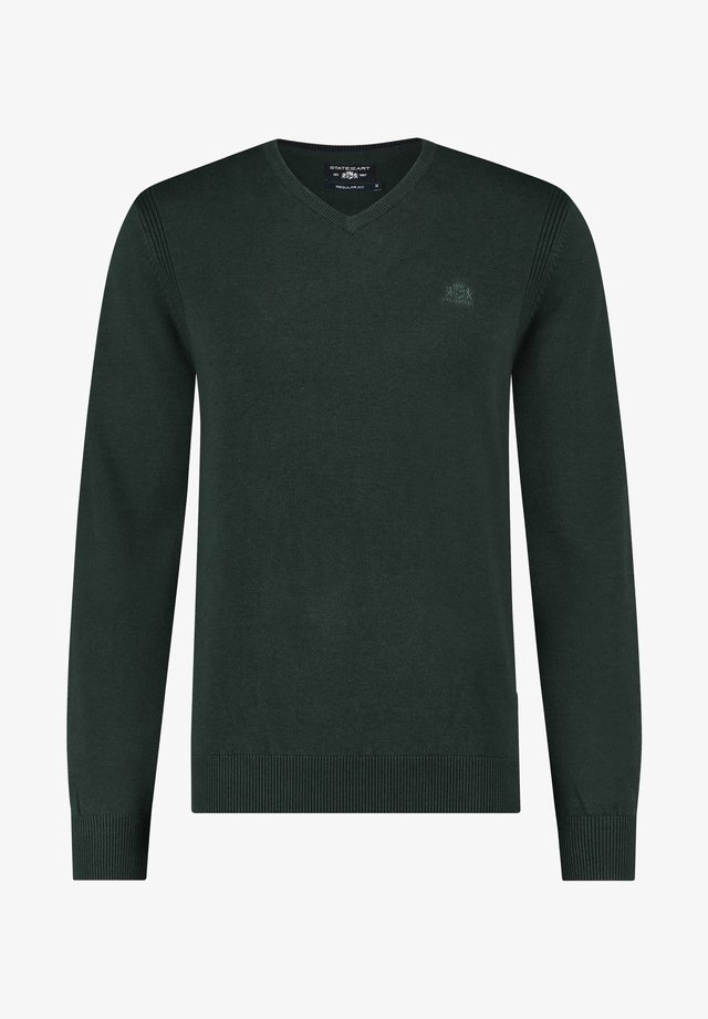 V NECK - Trui - dark green plain