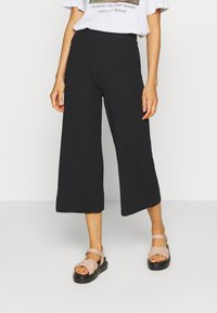 Even&Odd - Wide Cropped Pants - Pantalones - black - 0