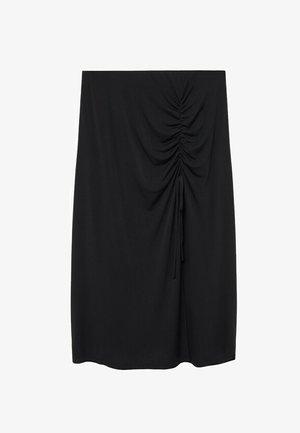 MET GESMOKT DETAIL - A-line skirt - zwart