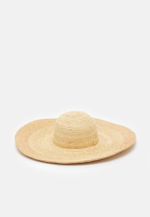 SHADY LADY CONTRAST STITCH OVERSIZE HAT - Beach accessory - natural
