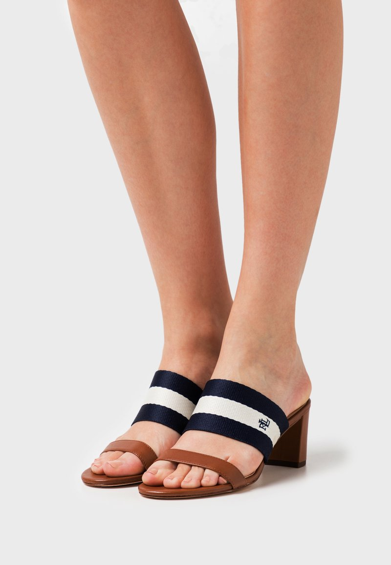 Lauren Ralph Lauren - WHITFIELD - Pantofle na podpatku - deep saddle tan/lau