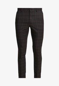 New Look - PASO HARRY GINGER HIGHLIGHT CHECK  - Pantalon de costume - dark brown - 3