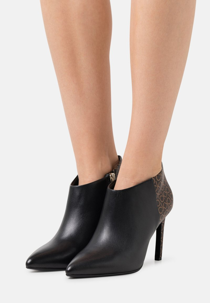 Calvin Klein - ESSENTIAL MIX - High heeled ankle boots - black/brown mono