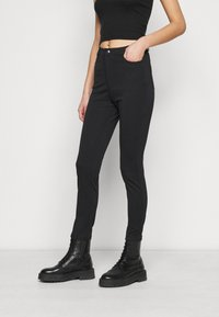 Even&Odd Tall - HIGH WAIST 5 pockets PUNTO trousers - Trousers - black - 0