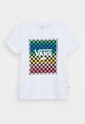 VINTAGE CHECK BOX - T-shirt z nadrukiem - white