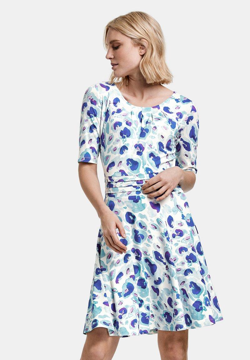 Taifun - Jersey dress - blue curacao gemustert