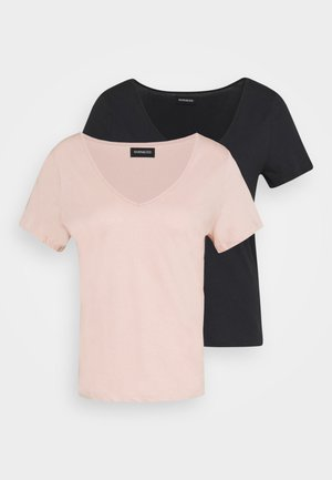 2 PACK - T-shirt basic - anthracite / light pink