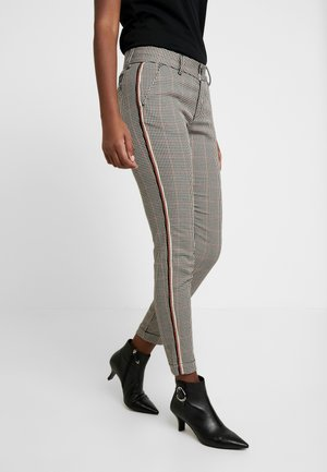 LOVELY POLY STRIPE CHECK - Pantalones - beige