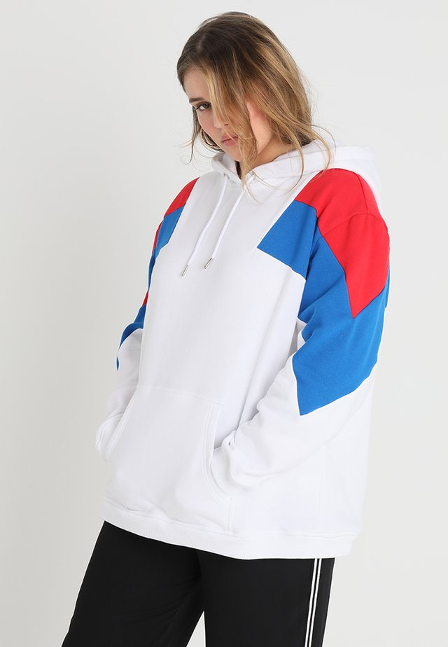 LADIES OVERSIZE TONE BLOCK - Hoodie - white/fire red/bright blue