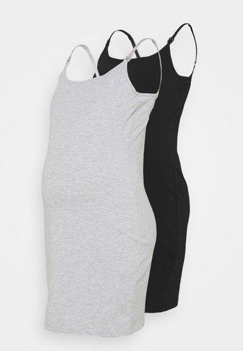 NURSING 2 PACK JERSEY DRESS - Sukienka z dżerseju - black/light grey