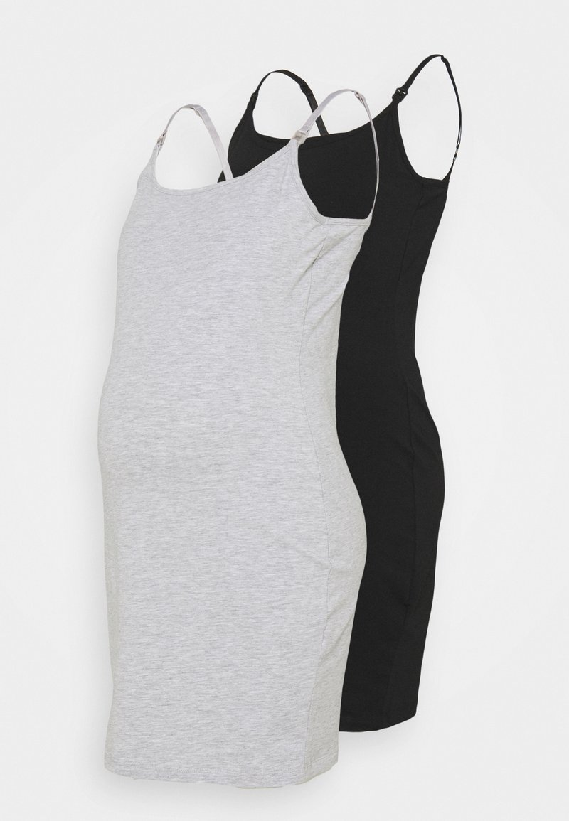 Anna Field MAMA - NURSING 2 PACK JERSEY DRESS - Sukienka z dżerseju - black/light grey