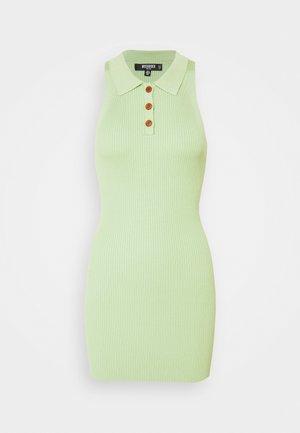 COLLAR BUTTON MINI DRESS - Shift dress - green