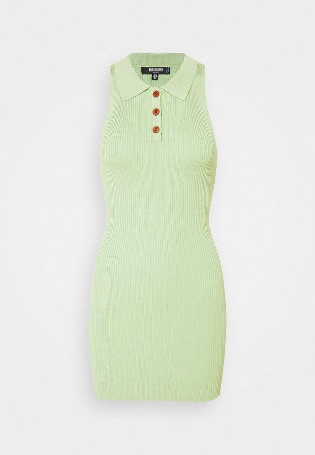 COLLAR BUTTON MINI DRESS - Sukienka etui - green
