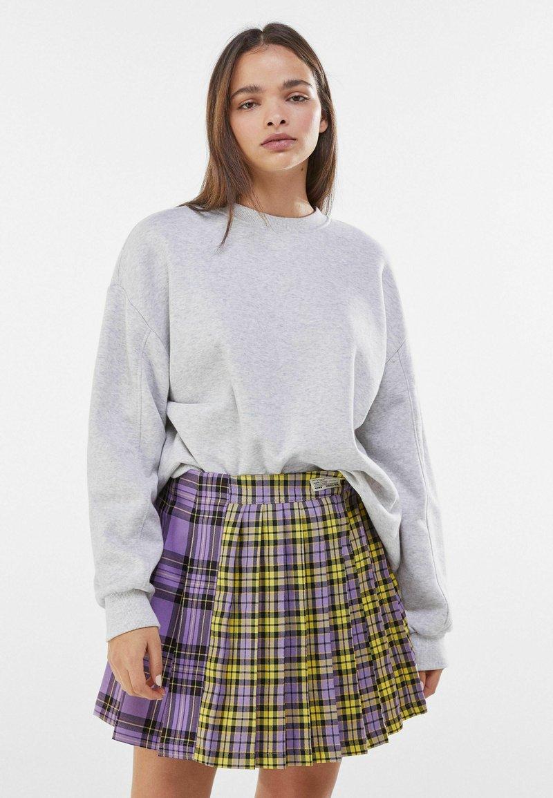 Bershka - Plisovaná sukně - mauve