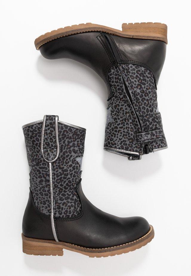 Kovbojské/motorkářské boty - black/grey