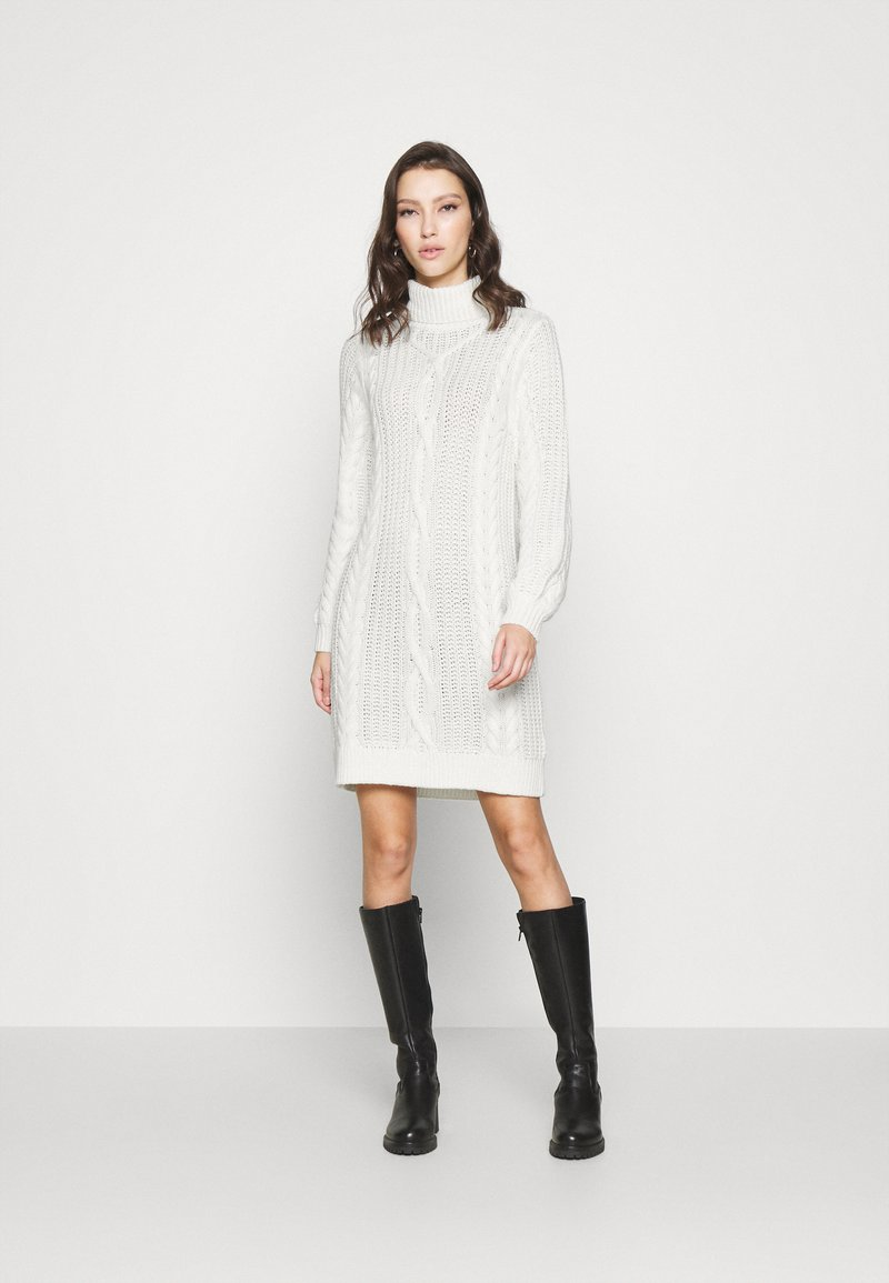 Object - OBJAVA ROLLNECK DRESS - Strikket kjole - gardenia