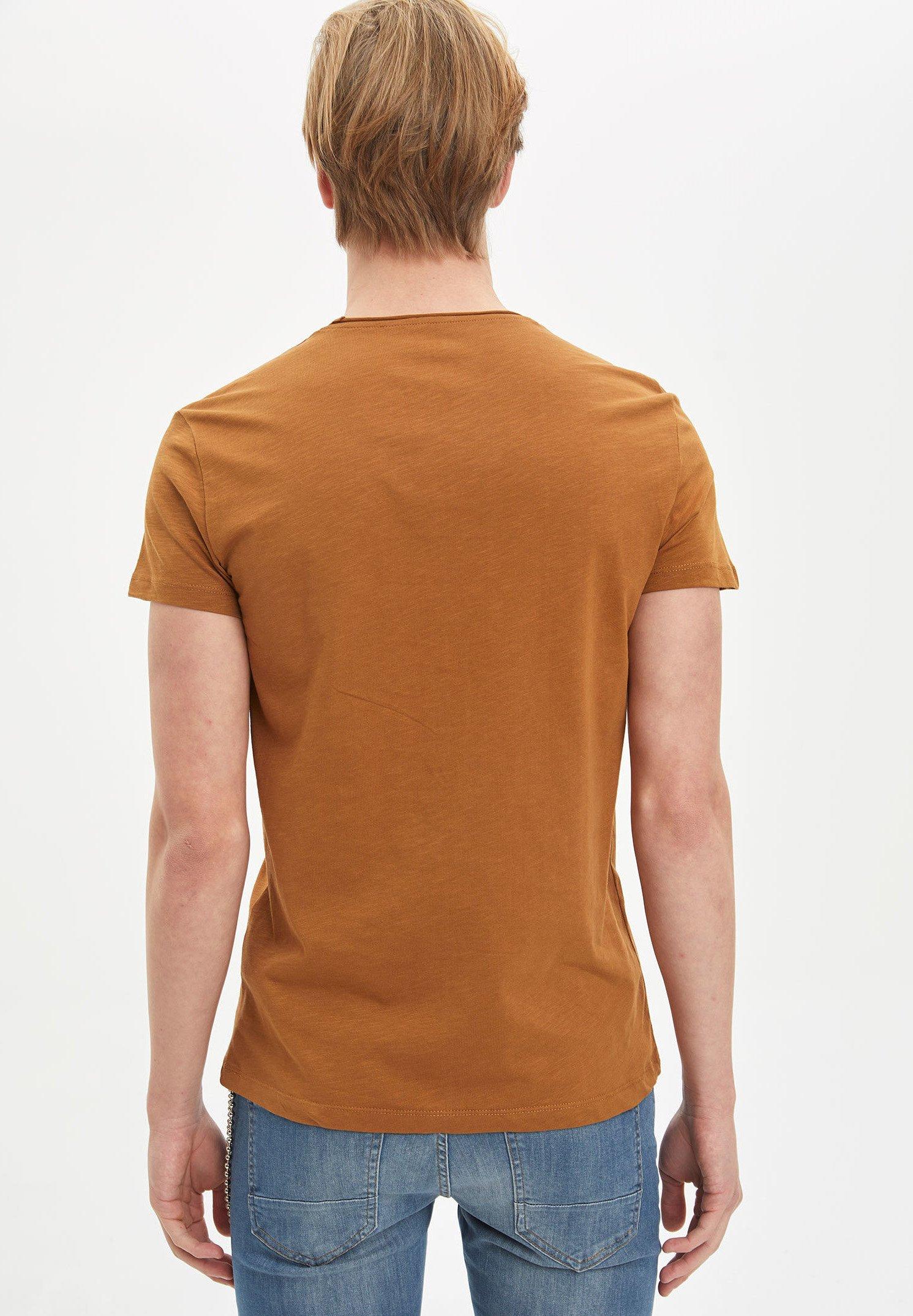 DeFacto Basic T-shirt - brown bmzu7