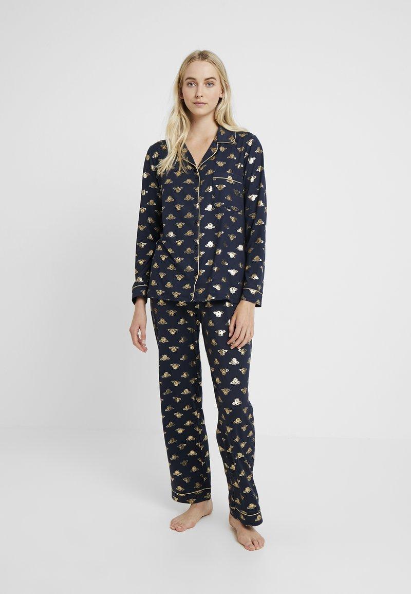 Chelsea Peers - BEE LONG SET - Pyžamová sada - navy/gold