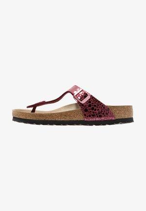 GIZEH - T-bar sandals - metallic port