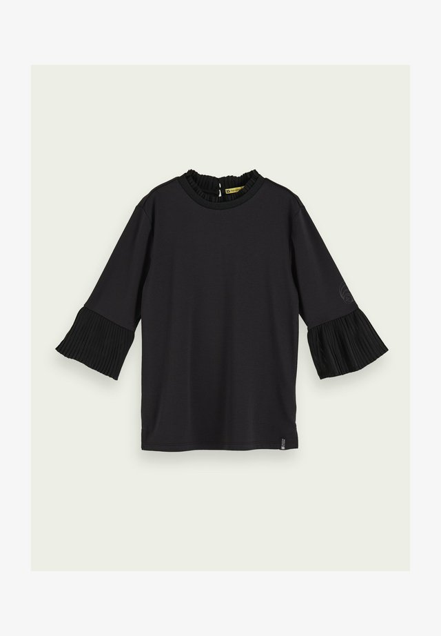 WITH PLEATED DETAILS - Blus - black