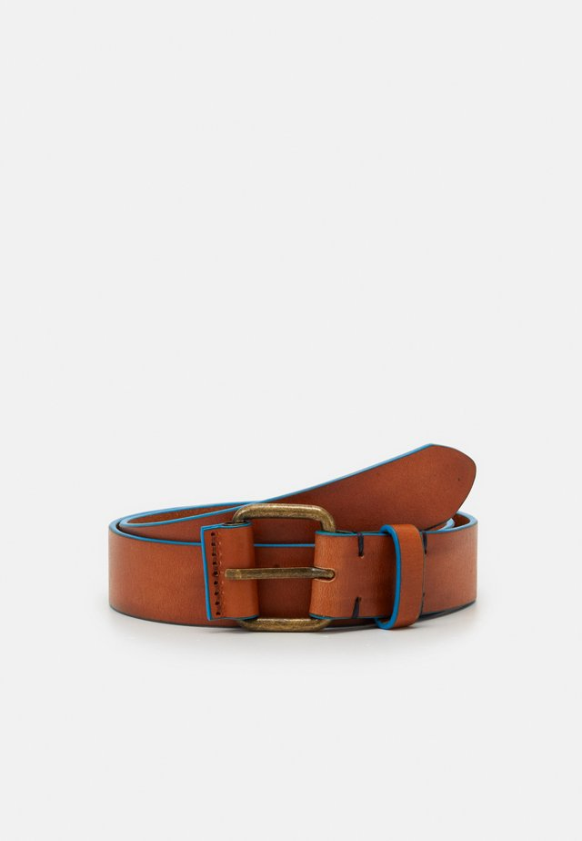 BELT WITH CONTRAST EDGE UNISEX - Pasek - brown