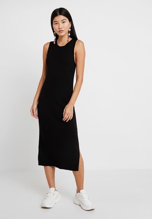 SWEATER RIB SOLID COLUMN DRESS - Abito in maglia - black