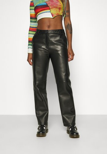 FIONA TROUSERS - Leather trousers - black