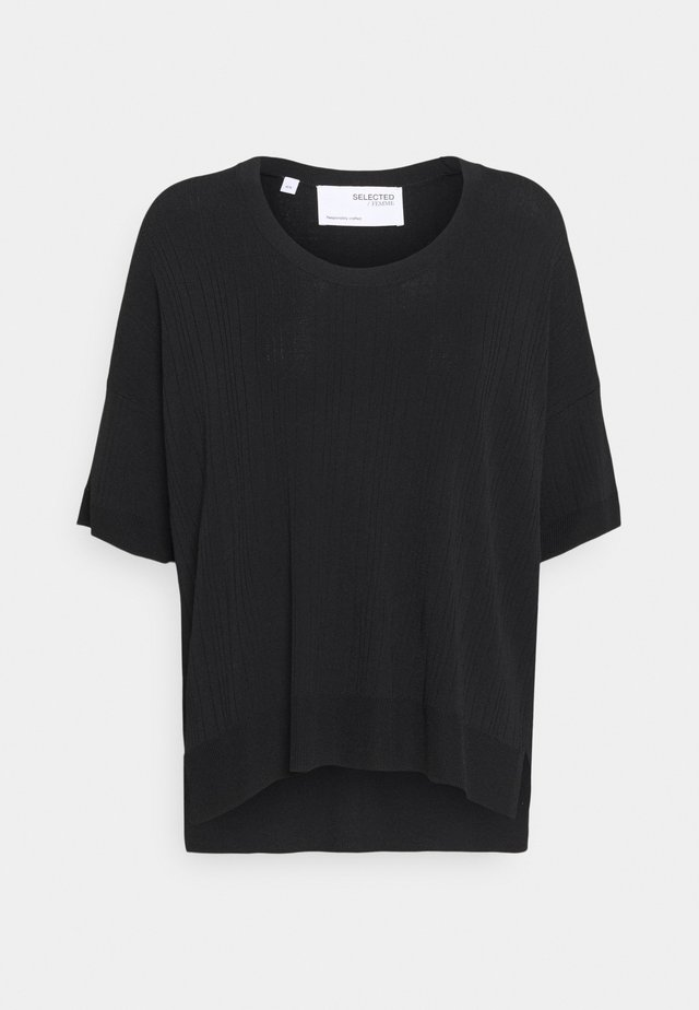 SLFWILMA UNECK - Jednoduché triko - black