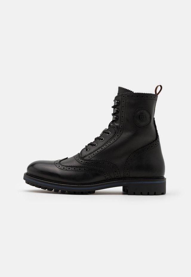 NATRON - Šněrovací kotníkové boty - black