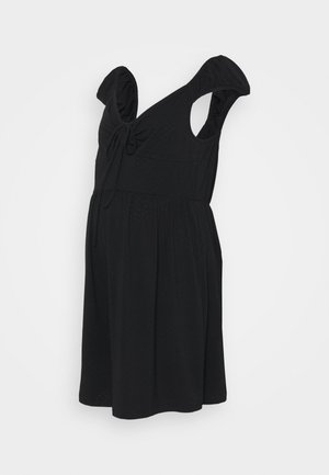 SHORT SLEEVE PLAYSUIT WITH LOW NECKLINE AND FRONT TIE DETAIL - Overall / Jumpsuit /Buksedragter - black pointelle