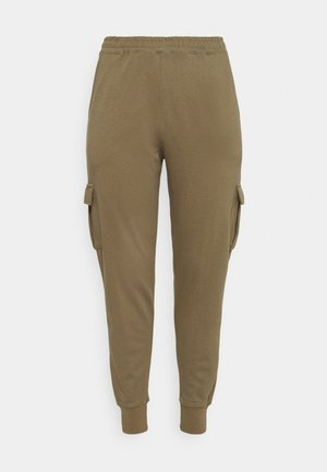 UTILITY POCKET HIGH WAISTED - Tracksuit bottoms - khaki