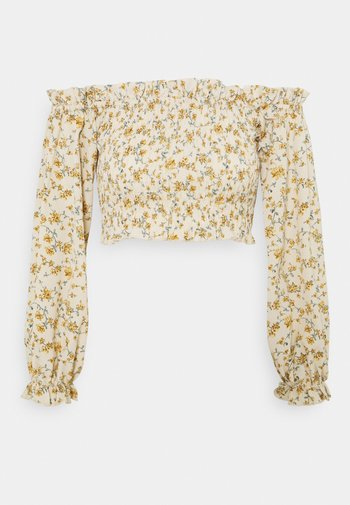 FRILL DETAIL SHIRRED - Long sleeved top - cream