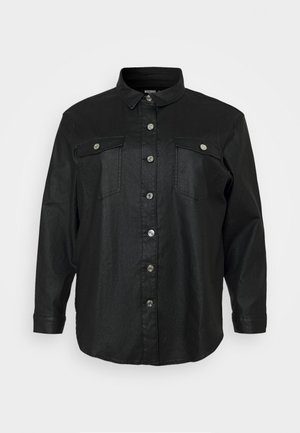 COATED OVERSIZED SHIRT - Button-down blouse - black
