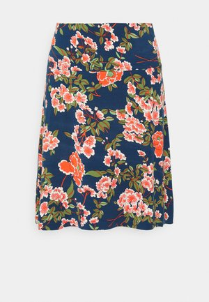 BORDER SKIRT - A-line skirt - blue