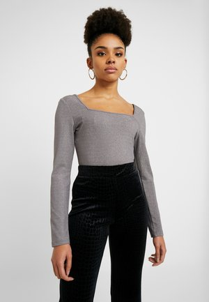 SQUARE NECK BODYSUIT - Long sleeved top - silver