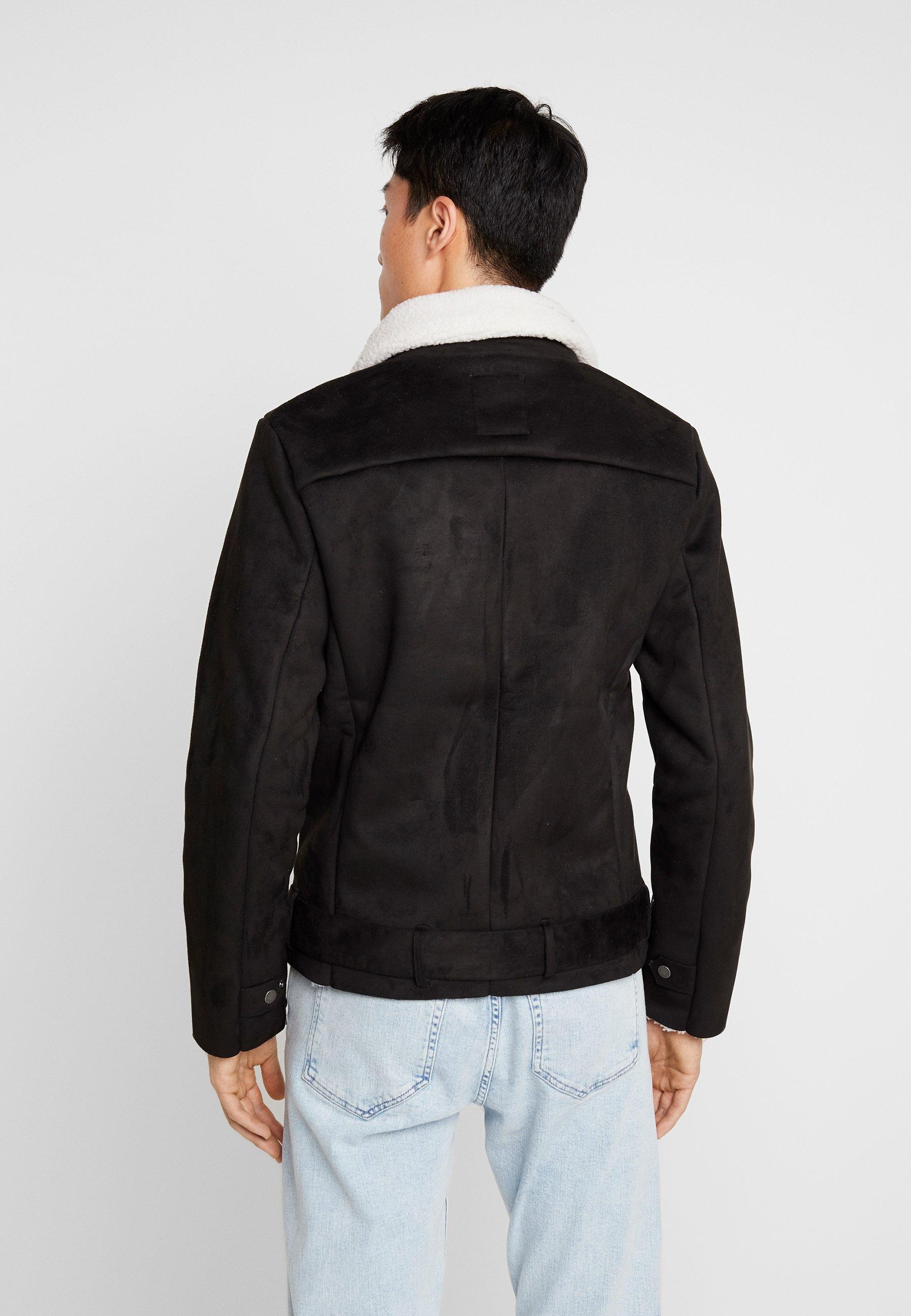 Burton Menswear London Herr BLACK BIKER svart Jacka i