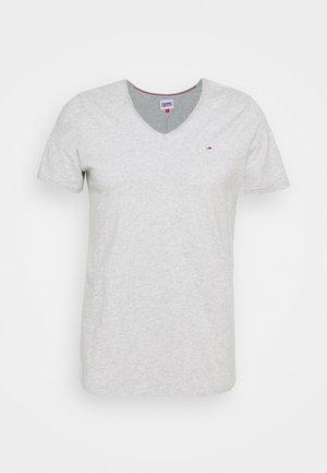 SLIM JASPE V NECK - Jednoduché triko - grey