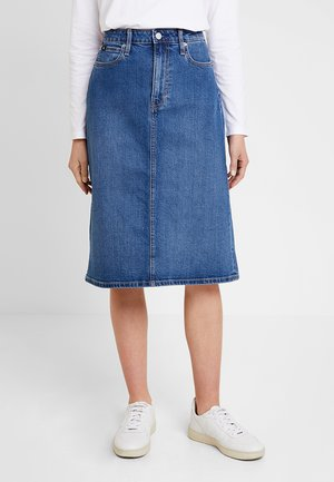 ICONIC MIDI SKIRT - A-line skirt - stone blue denim