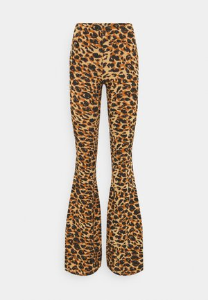 LEOPARD FLARE BISCUIT - Leggings - Trousers - brown