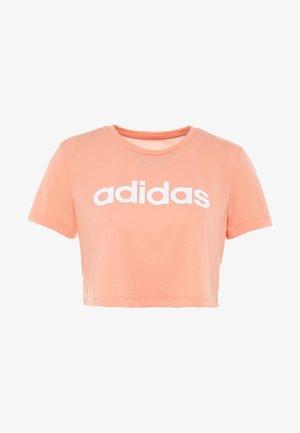 CROP TEE - T-shirt z nadrukiem - semi coral/white