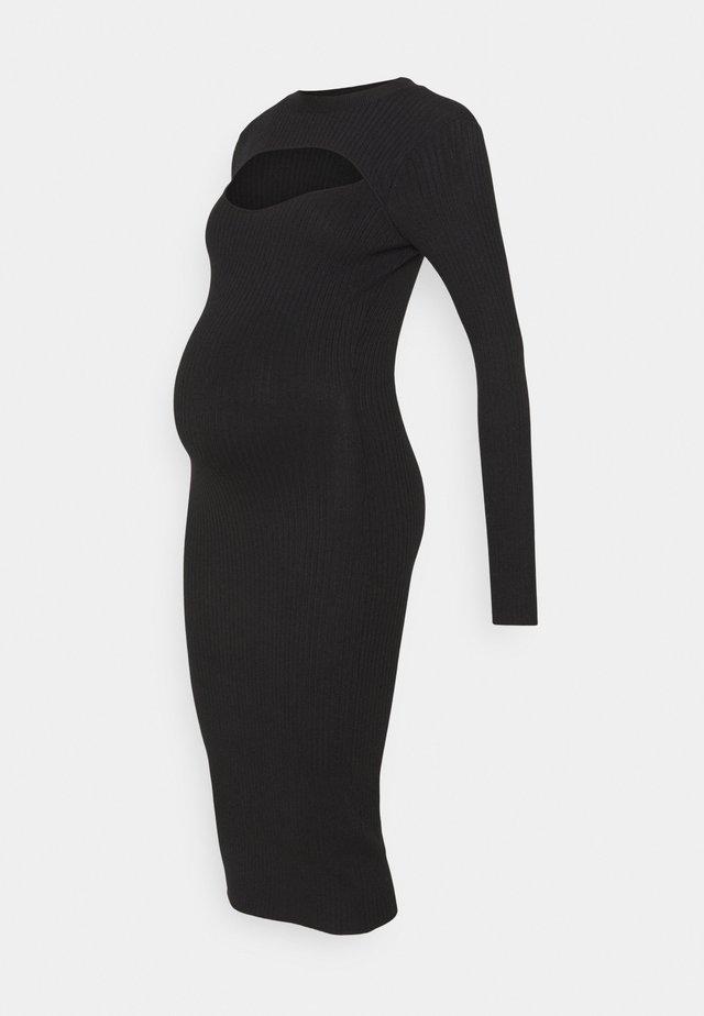 ROLL NECK CUT OUT DRESS MATERNITY  - Stickad klänning - black
