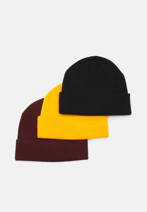 3 PACK UNISEX - Čepice - black/mustard yellow/bordeaux
