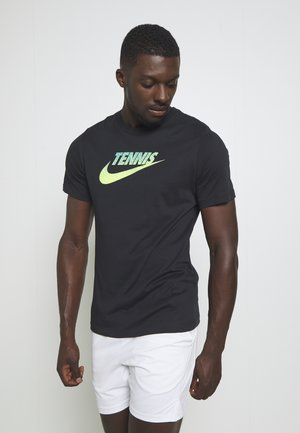 GRAPHIC - Print T-shirt - black/volt/neo turq