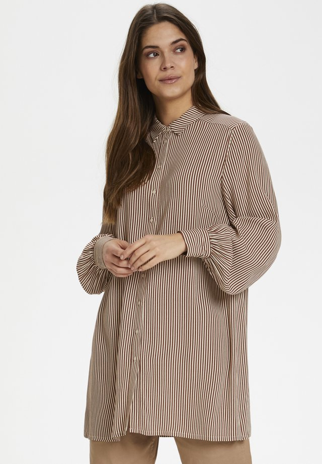 DONNIEPW SH - Button-down blouse - stripe, brown