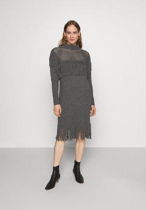 SAGRANTINO ABITO RASATO RETE E FRANGE - Jumper dress - grey