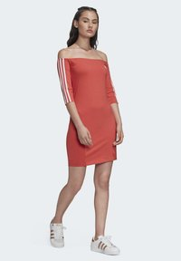 adidas Originals - OFF-THE-SHOULDER DRESS - Jersey dress - red - 1